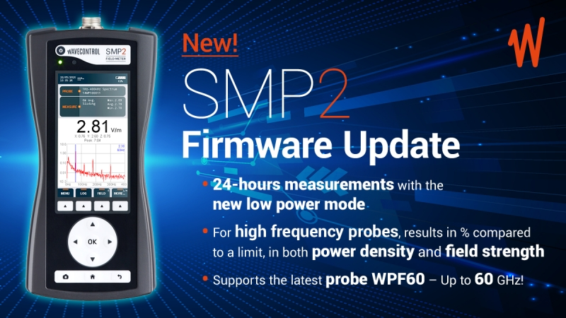 New firmware available for the SMP2. Up to 24-hour measurements. Range up to 60 GHz!
